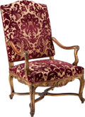 Furniture , A LOUIS XIV-STYLE UPHOLSTERED GILTWOOD ARMCHAIR, late 19th century. 43-1/2 x 26-1/2 x 24 inches (110.5 x 67.3 x 61.0 cm). ...