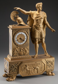 AN EMPIRE-STYLE GILT BRONZE FIGURAL MANTLE CLOCK, mid 19th century 25-1/2 x 16-3/4 x 5-1/4 inches (64.8 x 42.5 x 1