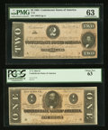 Confederate Notes:1864 Issues, $1 and $2 1864 Notes Third Party Graded 63.. ... (Total: 2 notes)