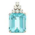 Estate Jewelry:Pendants and Lockets, Aquamarine, Diamond, White Gold Enhancer-Pendant. ...