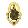 Estate Jewelry:Pendants and Lockets, Ancient Bronze Bell, Emerald, Ruby, Diamond, Gold Pendant. ...