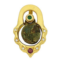 Ancient Bronze Bell, Emerald, Ruby, Diamond, Gold Pendant