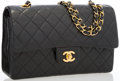 "Luxury Accessories:Bags, Chanel Black Quilted Lambskin Leather Medium Double Flap Bag withGold Hardware. Very Good Condition. 10"" Width x 6""H..."