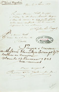 Autographs:Non-American, [Featured Lot]. Napoleon Louis Bonaparte (1808-1873). AutographLetter Signed. Dated 1841. ...