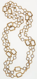"Luxury Accessories:Accessories, Chanel Clear Crystal & Gold Sautoir Necklace. ExcellentCondition. 60"" Length x .5"" Width. ..."