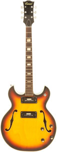 Musical Instruments:Electric Guitars, 1960's Conrad Sunburst Semi-Hollow Body Electric Guitar, Serial #0255621....