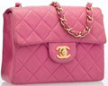 "Luxury Accessories:Bags, Chanel Pink Quilted Lambskin Leather Mini Flap Bag with GoldHardware . Good Condition . 7.5"" Width x 5"" Height x 2""D..."