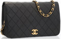 "Luxury Accessories:Bags, Chanel Black Quilted Lambskin Leather Flap Bag with Gold Hardware.Good to Very Good Condition . 9"" Width x 6"" Height..."