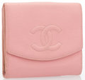 "Luxury Accessories:Bags, Chanel Pink Caviar Leather Bifold Wallet. Good Condition.5"" Width x 4"" Height x 1"" Depth. ..."