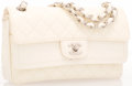 """Luxury Accessories:Bags, Chanel White Quilted Patent Leather Medium Double Flap Bag withSilver Hardware. Very Good Condition. 10"""" Width x 6""""H..."""
