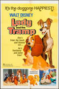 "Movie Posters:Animation, Lady and the Tramp (Buena Vista, R-1972). One Sheet (27"" X 41"").Animation.. ..."