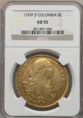 Colombia, Colombia: Charles IV gold 8 Escudos 1793 P-JF AU55 NGC,...