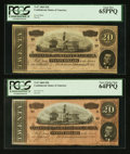 Confederate Notes:1864 Issues, T67 $20 1864 Two Different Fricke Numbers PCGS Graded.. ... (Total: 2 notes)