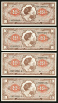 Military Payment Certificates:Series 641, Series 641 $10 Four Examples Choice New or Better.. ... (Total: 4notes)