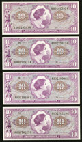 Military Payment Certificates:Series 651, Series 651 $10 Four Examples Choice New.. ... (Total: 4 notes)