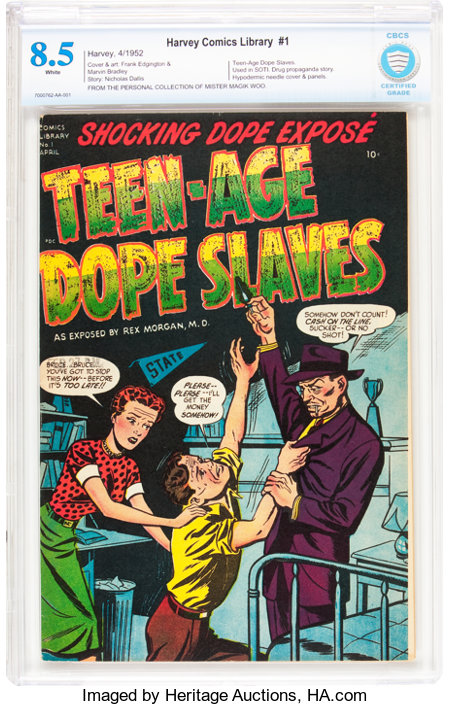 Harvey Comics Library #1 Teen-Age Dope Slaves (Harvey, 1952) CBCS VF+ 8.5 White pages....