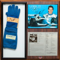 Miscellaneous Collectibles:General, 1994 Jacques Villeneuve Race Used Glove & Signed Card Display....