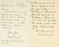 Autographs:Non-American, Dame Ethyl Smith, English composer and suffragette (1858-1944).Pair of Autograph Letters Signed. Dated January 15, 1922 and...