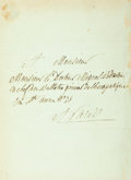 Autographs:Non-American, Ambroise-Polycarpe de La Rochefoucauld, French Politician(1765-1841). Autograph Letter Signed. Dated April 21, 1827. ...