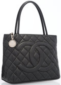 """Luxury Accessories:Bags, Chanel Black Quilted Caviar Leather Medallion Tote Bag with SilverHardware . Very Good to Excellent Condition . 12""""W..."""