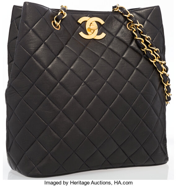 e3ac00dce4b5 Chanel Black Quilted Lambskin Leather Tote Bag with Gold Hardware ...