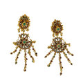 Estate Jewelry:Earrings, Emerald, Ruby, Diamond, Gold Earrings. ...