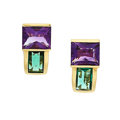 Estate Jewelry:Earrings, Tourmaline, Amethyst, Gold Earrings. ...