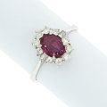 Art Glass:Daum, Ruby, Diamond, White Gold Ring. ...