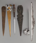 Miscellaneous, FIVE ART NOUVEAU BRONZE AND METAL LETTER OPENERS AND A KIRK &SON SILVER RULER, 20th century. Marks to ruler: S. Kirk &So... (Total: 6 Items)