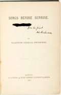 Books:Literature Pre-1900, Charles Algernon Swinburne. INSCRIBED PRESENTATION COPY. SongsBefore Sunrise. London: F. S. Elis, 1871. Inscribed...