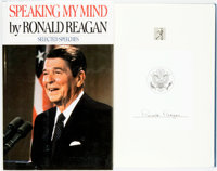 Ronald Reagan. SIGNED. Speaking My Mind. Selected Speeches. New York: Simon and Schu