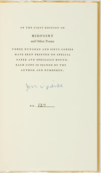 John Updike. SIGNED/LIMITED. Midpoint and Other Poems. New York: Alfred A. Knopf, 19