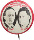 "Political:Pinback Buttons (1896-present), Foster & Gitlow: A Very Tough 7/8"" Litho Jugate for theCommunist Candidates...."