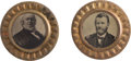 Political:Ferrotypes / Photo Badges (pre-1896), Ulysses S. Grant and Horace Greeley: An Incredible Matched Pair ofLarge Ferrotype Belt Buckles in Choice Condition.... (Total: 2Items)