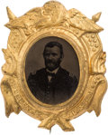 Political:Ferrotypes / Photo Badges (pre-1896), Ulysses S. Grant: A Choice Fancy Pinback Ferrotype....