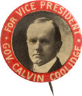 "Political:Pinback Buttons (1896-present), Calvin Coolidge: Key, Rarely-offered 1¼"" 1920 Vice PresidentialPinback...."