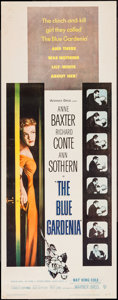 "Movie Posters:Crime, The Blue Gardenia (Warner Brothers, 1953). Insert (14"" X 36"").Crime.. ..."