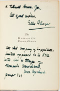Books:Literature 1900-up, Ellen Glasgow. INSCRIBED. The Romantic Comedians. Garden City: Doubleday, Page and Co., 1927. First Edition. Inscr...