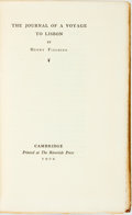 Books:Travels & Voyages, Henry Fielding. LIMITED. The Journal of a Voyage to Lisbon. Cambridge: Printed at The Riverside Press, 1902. Limited...