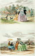 Books:Prints & Leaves, Pair of Large Lithographic Prints Depicting Scenes of Leisure.Various publishers and dates. ...