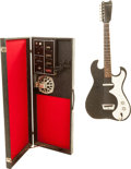 Musical Instruments:Electric Guitars, 1960's Silvertone 1448 Amp-in-Case Black Solid Body Electric Guitar, Serial # 18510010....