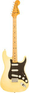 Musical Instruments:Electric Guitars, 1975 Fender Hardtail Stratocaster Olympic White Solid Body ElectricGuitar, Serial # 677535....