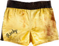 "Movie/TV Memorabilia:Costumes, A Pair of Boxing Trunks from ""Rocky III.""..."