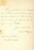 Autographs:Non-American, Samuel Rogers, British poet (1763-1855). Autograph Letter Signed.Dated January 13, 1823. ...