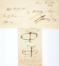 Sir Humphry Davy, British scientist (1778-1829). Original Pen and Ink Sketch for his Royal Society Paper on Electrical a...