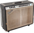 Musical Instruments:Amplifiers, PA, & Effects, 1973 Fender Twin Reverb Black Guitar Amplifier, Serial # A61220....