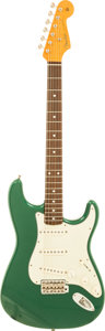 Musical Instruments:Electric Guitars, 1998 Fender '62 Re-issue Stratocaster Green Metallic Solid BodyElectric Guitar, Serial # V114733....