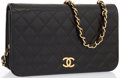 "Luxury Accessories:Accessories, Chanel Black Quilted Lambskin Leather Single Flap Bag with GoldHardware. Very Good Condition. 9.5"" Width x 5.5"" H..."