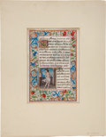 Books:Illuminated Manuscripts, [Illuminated Manuscript]. [Medieval Miniature on Vellum from a Bookof Hours:] Saint Benignus and Saint Sebastian. France: c...