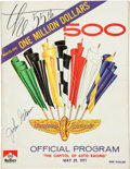 Miscellaneous Collectibles:General, 1971 Indianapolis 500 Program Signed by John Glenn....